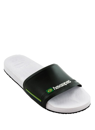 Havaianas Havaianas Slide Brasil 101646254 Geniş Logo Bantlı Kauçuk Nlı Erkek Plaj Terliği Beyaz